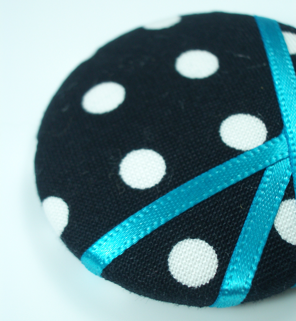 Pendant - Blue Polka - Extra Large Button Necklace