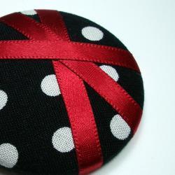 Ponytail Holder - Red Polka - Giant Button