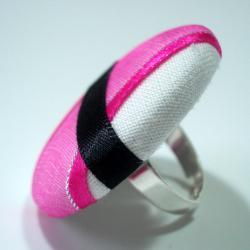 Cocktail Ring - Pink Flash - Extra Large Button
