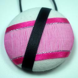 Necklace - Pink Flash - Extra Large Button Pendant